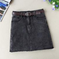 skirt Spring 2021 S,M,L,XL,2XL black Short skirt Versatile Natural waist Little black dress Solid color Type A 18-24 years old Denim cotton
