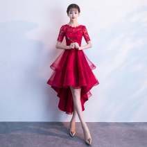 Dress / evening wear Wedding, adulthood, party, company annual meeting, show, date Medium and long term Skirt hem elbow sleeve Autumn 2020 fashion U-neck middle-waisted Mesh + zipper L-886 zipper 18-25 years old routine Abstract pattern Embroidery 96% and above machine embroidery Wine red, big red