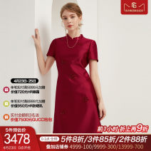 Dress Spring 2021 Intense red S M L XL XXL Middle-skirt singleton  Short sleeve commute stand collar middle-waisted Solid color zipper Princess sleeve 30-34 years old Type A La Koradior lady Stitching beads 51% (inclusive) - 70% (inclusive) polyester fiber