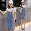 Dress Spring 2020 [9820 set] white T-shirt + strap skirt, [9820 single piece] denim strap skirt, [9818 set] white T-shirt + strap skirt, [9818 single piece] denim strap skirt, [9817 set] white T-shirt + strap skirt, [9817 single piece] denim strap skirt S,M,L,XL,2XL longuette Two piece set commute 3D