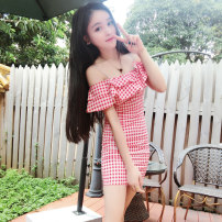 Dress Summer 2020 Red, black S,M,L Short skirt singleton  Sleeveless commute One word collar Elastic waist lattice Socket other other camisole 18-24 years old T-type Korean version Lotus leaf edge 9203# 71% (inclusive) - 80% (inclusive) cotton
