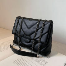 Bag The single shoulder bag PU Small square bag Flying in the sky brand new Japan and South Korea in leisure time soft Buckle no Solid color Single root One shoulder cross nothing youth Horizontal square chain synthetic leather inside pocket with a zipper soft surface