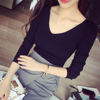 Wool knitwear Autumn of 2019 Average size White, black, scarlet Long sleeves singleton  Socket other 30% and below Regular Thin money commute Self cultivation V-neck routine Solid color Socket Korean version
