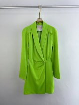 Dress Spring 2021 green S,M,L Long sleeves commute tailored collar Solid color routine Button