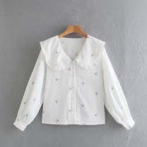 shirt White printing XS,S,M,L Spring 2021 other 91% (inclusive) - 95% (inclusive) Long sleeves street Regular Single row multi button Solid color Straight cylinder Europe and America