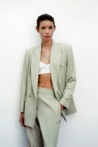 suit Spring 2021 Light green XS,S,M,L Long sleeves Medium length Straight cylinder double-breasted street Solid color BB11787599 91% (inclusive) - 95% (inclusive)