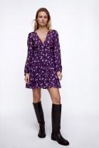 Dress Spring 2021 Deep purple XS,S,M,L Short skirt singleton  Long sleeves street Broken flowers OYK23115099 91% (inclusive) - 95% (inclusive) Europe and America