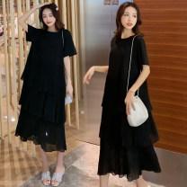 Dress Other / other black M,L,XL,XXL Korean version Short sleeve Medium length summer Crew neck Solid color 1825#