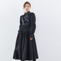 Dress Spring 2021 black S. M, l, s the second batch 10-15 days, m the second batch 10-15 days, l the second batch 10-15 days, default to include cross strap Pu bandage longuette Two piece set Long sleeves commute Polo collar middle-waisted Solid color Single breasted A-line skirt shirt sleeve Others