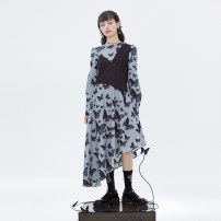 Dress Spring 2021 grey S. M, l, bust is too small, please refer to the size of details to buy, s second batch 10-15 days, m second batch 10-15 days, l second batch 10-15 days Middle-skirt Fake two pieces Long sleeves commute Crew neck middle-waisted Animal design Socket Irregular skirt shirt sleeve
