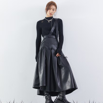 skirt Spring 2021 S,M,L black longuette Versatile High waist A-line skirt Solid color Type A 18-24 years old OM04BQ079 ocean mine PU