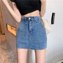 skirt Summer 2021 S,M,L blue Short skirt commute High waist skirt Solid color Type A 25-29 years old 0307-08 31% (inclusive) - 50% (inclusive) Denim PZ cotton zipper Korean version