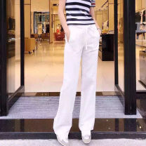 Casual pants White, black, green, red XS - 1, s - 2, M - 3, L - 4, XL - 5 Spring 2021 trousers Straight pants Natural waist Versatile Thin money 96% and above O'amash banner hemp hemp