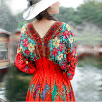 Dress Summer 2020 Black picture color, red picture color, purple picture color M,L,XL Mid length dress singleton  elbow sleeve commute V-neck Elastic waist Decor Socket Princess Dress Sleeve Oblique shoulder 25-29 years old Type H ethnic style Backless, printed 20-633