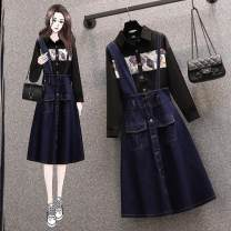 Women's large Spring 2021 K70 single shirt, C29 single strap skirt, b79 two piece set Large L, large XL, m, 2XL, 3XL Two piece set commute easy moderate Cardigan Long sleeves Korean version Polo collar routine Three dimensional cutting shirt sleeve O75620 Other / other 25-29 years old Asymmetry other