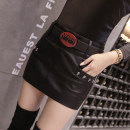 skirt Autumn 2020 S,M,L,XL black Short skirt commute Natural waist skirt Solid color Type A 25-29 years old 51% (inclusive) - 70% (inclusive) PU Rivet, pocket, zipper, stitching Korean version