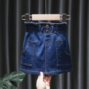 skirt 80, 90, 100, 110, 120, 130 Dark blue, red, yellow, white Tagkita / she and others female Other 100% spring and autumn skirt Korean version Solid color Denim skirt Cotton denim