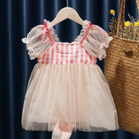 Dress Yellow, pink, pink fairy skirt, colorful Polka Dot suspender skirt female Other / other 80, 90, 100, 110, 120, 130 Other 100% summer fresh Short sleeve lattice cotton Pleats FHW736 Class B 12 months, 9 months, 18 months, 2 years old, 3 years old, 4 years old, 5 years old Chinese Mainland