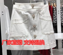 skirt Spring 2020 XS,S,M,L,XL Short skirt commute Natural waist Denim skirt Solid color Type A 25-29 years old 71% (inclusive) - 80% (inclusive) Denim other pocket Ol style 101g / m ^ 2 (including) - 120g / m ^ 2 (including)