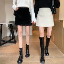 skirt Winter 2020 S. M, l, XL, XXS pre-sale Apricot, black Short skirt commute High waist A-line skirt Solid color Type A 91% (inclusive) - 95% (inclusive) other other zipper Korean version