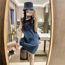 Dress Summer 2021 navy blue One size fits all, XXS pre-sale Short skirt singleton  Sleeveless commute High waist Solid color Socket A-line skirt straps Type A Korean version 51% (inclusive) - 70% (inclusive)