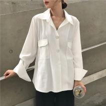 shirt white One size fits all, XXS pre-sale Spring 2020 other 51% (inclusive) - 70% (inclusive) Long sleeves commute Medium length square neck Single row multi button routine Solid color 18-24 years old Straight cylinder Other / other Korean version pocket