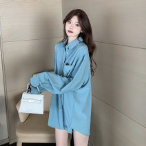shirt Light blue, white, lake green One size fits all, XXS pre-sale Autumn 2020 other 51% (inclusive) - 70% (inclusive) Long sleeves commute Medium length Polo collar Single row multi button routine Solid color Straight cylinder Korean version Pocket, button