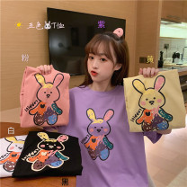 T-shirt White, purple, yellow, black, pink One size fits all, XXS pre-sale Summer 2020 Short sleeve Crew neck easy routine commute other 51% (inclusive) - 70% (inclusive) 18-24 years old Korean version youth Cartoon animation printing