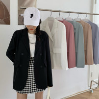 suit Summer 2020 White, black, raspberry powder, light pine green, naked apricot powder, ash purple One size fits all, XXS pre-sale Long sleeves Medium length easy tailored collar double-breasted commute routine Solid color Pocket, button