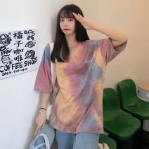 T-shirt Tie dye blue, tie dye powder M. L, XL, XXS pre-sale Summer 2021 Short sleeve Crew neck easy Medium length routine commute other 31% (inclusive) - 50% (inclusive) Korean version youth Color matching tie-dyed