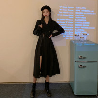 Dress Autumn 2020 black S,M,L Mid length dress singleton  Long sleeves commute tailored collar High waist Solid color Socket A-line skirt routine Type A Korean version Splicing, asymmetric 31% (inclusive) - 50% (inclusive)