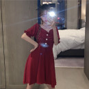 Dress Summer 2020 White, red, black One size fits all, XXS pre-sale Short skirt singleton  Short sleeve commute V-neck High waist Solid color Socket A-line skirt puff sleeve Type A Korean version Pleats, folds, lace UPS, buttons