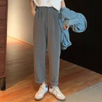 Casual pants dark grey S. M, l, XXS pre sale Summer 2020 Ninth pants Wide leg pants High waist commute routine 18-24 years old Korean version