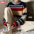 sweater Autumn of 2019 Average size Red apricot stripe, yellow green stripe Long sleeves Socket singleton  Regular other 95% and above Crew neck Regular routine Straight cylinder Other / other