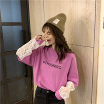 T-shirt Black, purple, white, pink One size fits all, XXS pre-sale Spring 2020 Long sleeves Crew neck easy Regular routine commute other 86% (inclusive) -95% (inclusive) Korean version youth letter Lace, stitching