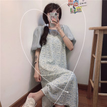 Dress Summer 2021 Yellow suspender skirt g, blue suspender skirt g, white top D, blue top D Average size Mid length dress Sleeveless commute other Loose waist Broken flowers Socket A-line skirt other camisole Type A Other / other Korean version 51% (inclusive) - 70% (inclusive) other