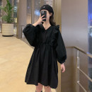 Dress Spring 2020 Black, white One size fits all, XXS pre-sale Mid length dress singleton  Long sleeves commute V-neck High waist Solid color Socket A-line skirt Bat sleeve Type A Korean version