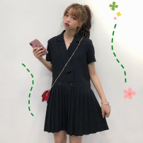 Dress Spring of 2019 Black, blue One size fits all, XXS pre-sale Short skirt singleton  Short sleeve commute tailored collar Loose waist Solid color double-breasted Pleated skirt routine Type A Other / other Korean version Pleats, buttons other