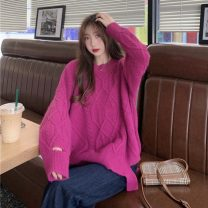 Wool knitwear Autumn 2020 One size fits all, XXS pre-sale Off white, yellow, pitaya, pink Long sleeves singleton  Socket other 51% (inclusive) - 70% (inclusive) Regular routine commute easy Low crew neck routine Solid color Socket Korean version Other / other Holes, asymmetry