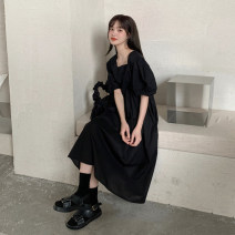 Dress Spring 2020 Lake blue, black One size fits all, XXS pre-sale longuette singleton  Short sleeve commute square neck High waist Solid color A-line skirt puff sleeve Type A Korean version 51% (inclusive) - 70% (inclusive)