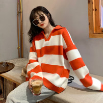 sweater Autumn 2020 One size fits all, XXS pre-sale Black, orange Long sleeves Socket singleton  Regular other 31% (inclusive) - 50% (inclusive) V-neck Regular commute stripe Straight cylinder
