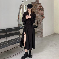 Dress Autumn 2020 black One size fits all, XXS pre-sale Mid length dress singleton  Long sleeves commute V-neck High waist Solid color Socket Irregular skirt routine Type A Korean version Asymmetry 51% (inclusive) - 70% (inclusive)