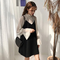 Fashion suit Spring of 2019 Average size, m, s Apricot top, black suspender skirt 18-25 years old Other / other