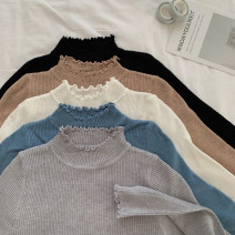 Wool knitwear Winter 2020 One size fits all, XXS pre-sale White, blue, black, khaki, haze grey Long sleeves singleton  Socket other 51% (inclusive) - 70% (inclusive) Regular routine commute Self cultivation Half height crew neck routine Solid color Socket Korean version Other / other fungus