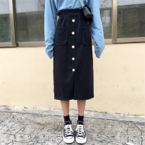 skirt Autumn of 2018 One size fits all, XXS pre-sale Black, Khaki Mid length dress commute High waist A-line skirt Solid color Type A 18-24 years old Button, pocket Korean version