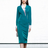 Dress Spring 2021 Malachite green (7-10 days delivery), malachite green (in stock) S,M,L,XL Mid length dress singleton  Long sleeves street V-neck Solid color zipper One pace skirt routine Others 25-29 years old Type X Duffy fashion Auricularia auricula, splicing, asymmetry Q22061H polyester fiber