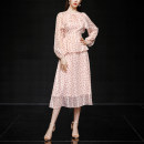 Dress Spring 2021 Pink (7-10 days delivery), pink (in stock) S,M,L,XL Mid length dress singleton  Long sleeves street V-neck High waist Decor zipper Ruffle Skirt routine Others 25-29 years old Type X Duffy fashion Lace, lace, bandage, print MC22389 More than 95% Chiffon polyester fiber