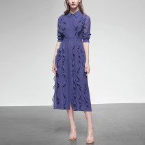 Dress Spring 2020 Wisteria long sleeves (5-7 days delivery), wisteria long sleeves (stock), wisteria short sleeves (5-7 days delivery), wisteria short sleeves (stock) S,M,L,XL,2XL Mid length dress singleton  Long sleeves street square neck middle-waisted Solid color Single breasted other shirt sleeve