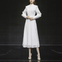 Dress Spring 2021 White (5-7 days delivery), white (in stock) S,M,L,XL longuette singleton  Long sleeves commute Crew neck High waist Solid color zipper Ruffle Skirt Princess sleeve Others 25-29 years old Type X Duffy fashion lady Lace T-SM22263 31% (inclusive) - 50% (inclusive) other polyester fiber