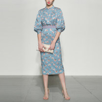 Dress Spring 2021 S,M,L,XL Mid length dress singleton  three quarter sleeve street stand collar middle-waisted Decor zipper One pace skirt bishop sleeve Others Type X Duffy fashion other Europe and America